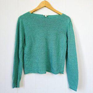 Eileen Fisher Linen 3/4 Sleeve Green Sweater Small